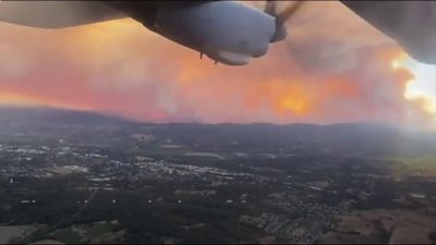California wildfires seen from a plane as Trump declares major disaster
